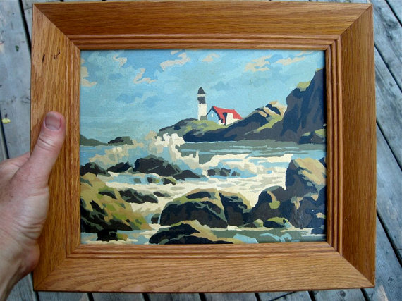 Available for sale at https://www.etsy.com/ca/listing/156840219/paint-by-number-lighthouse-scene-cottage