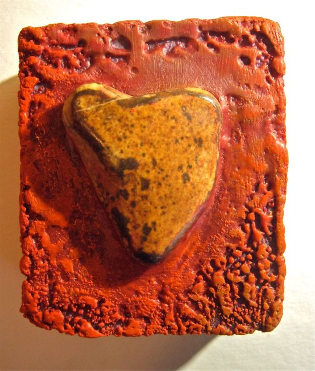Red Heart Encaustic Mosaic, by Evelyn Ward de Roo, WaveSong on Etsy