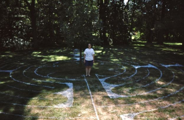 after a long labour, we gave birth to a finished labyrinth (facing west)