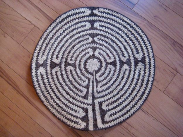 Chartres Cathedral Labyrinth woven mat, Evelyn Ward de Roo